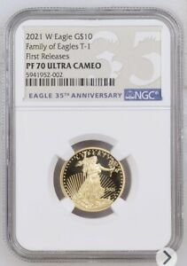 2021 W * 1/4 oz Proof Gold Eagle $10 * NGC PF70 * American Eagle First Releases