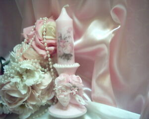 Shabby Victorian Candle Ensemble #1~Glass Base~Rose Design~PINK~ROSES~OOAK