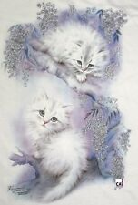 Fluffy White Kitten Shirt, Shimmer Leaves, Ladies Top, Small - 5X