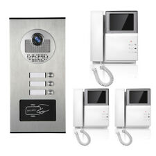 Apartment Wired Video Door Phone RFID Card Audio Visual Intercom System 3 Units