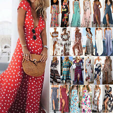 Womens Floral Boho Casual Maxi Dress Party Summer Beach Holiday Split Sundress