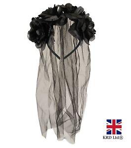 Halloween BLACK ROSES VEIL HEADBAND Corpse Bride Fancy Dress Day Of The Dead UK