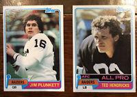 1981 TOPPS - Ted Hendricks #200 and Jim Plunket #135 ~ Raiders HOF!