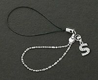 Dangle Letter S 925 Sterling Silver Crystal Cell Phone Charm For Mobile Phone