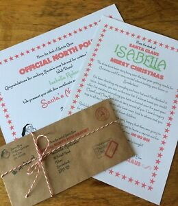 Personalised Vintage Letter From Santa Father Christmas Nice List Certificate (S