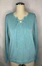 J. Jill Lace Up Sweater Size Medium Petite Aqua Blue Long Sleeve Knit Top Shirt