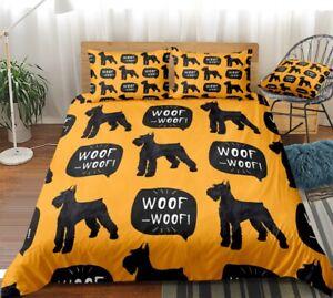 Schnauzer Dog Design 3 Piece Duvet Set