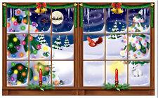 SNOWY WINDOW Scene Setter Christmas holiday winter party wall decor kit 5'
