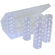 Storage Box Tray 30 Round Stackable Clear Containers Beads Makeup tools CTNB099