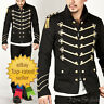 Men Handmade Gold Embroidery Black Military Napoleon Hook Jacket 100% Cotton