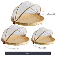 Bamboo Fruit Basket Wooden Fruit Bowl with Mesh Cover Protects Food From Insects