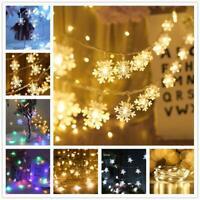 1/3M String Lights Snowflake Xmas Tree Christmas Party Home Warm Lamp Decor