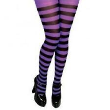 Candy Stripe Vestido de fantasía de Halloween Medias Opacas Morado/Negro