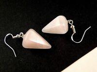 Rose Quartz Natural Gemstone Dangle Earrings with 925 Sterling Silver Hooks #356