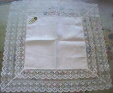 Lovely unused Vintage Irish Linen Lace Wedding Bridal Bride Hanky handkerchief