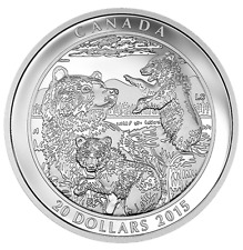 Canada $20 1 oz. Proof Fine Silver Coin  – Grizzly Bear: Family  (2015)