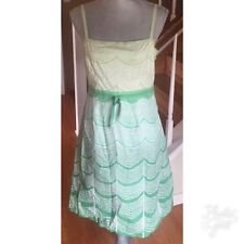 Anthropologie Ipsa Green White Cotton Sundress Size 10 EUC