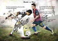 Lionel Messi Christiano Ronaldo Soccer Football Autograph Signed A4 Poster 3