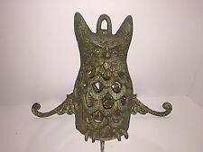Rare Vintage Wall Mountable Cast Iron Owl Candle Tealight Lantern heavy patina