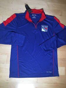 $50 New York Rangers Majestic Status Cool Base 1/4 Zip Jacket Men's Size Medium