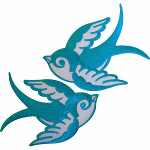 Pair Turquoise Blue White Iron On Swallow Bird Patches Sew On Patch Badge Crafts