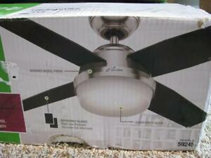 """Hunter 44"""" Remote Control Ceiling Fan Dempsey Brushed Nickel 59245 New open box"""