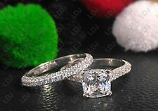 Set 925 Silver (Ring Size 9) 2.7Ct Cushion Cut Simulated Engagement Wedding Ring