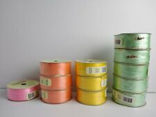 """(12) Lot of Pastel Curling Ribbon  50 ft each 3/16"""" Peach,Green,Yellow, Pink"""