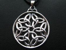 Keltischer Knoten 925'er Silber GROSS + Echtlederband Ketten Anhänger  / KA 192