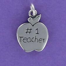 #1 Teacher Apple Charm Sterling Silver for Bracelet 925 Engraved Number One Gift