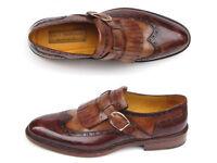 Paul Parkman Men's Wingtip Monkstrap Brogues Brown Hand-Painted Leather Upper Wi