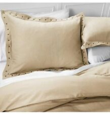 Industrial Shop Nailhead White Pepper Taupe King Duvet Cover Set 3 pc New