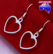 Wholesale 925 Sterling Silver Filled Solid Love Heart Dangle Earrings Gift
