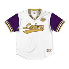 New MITCHELL & NESS Los Angeles Lakers White MESH V Neck JERSEY NBA