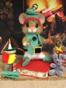 Needle Felted Mouse 'Eric' Elf Handmade Mice Doll  Teddy Mice Ooak By Suzanne 🌸