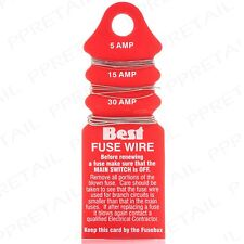 DOMESTIC CARDED FUSE WIRE 5/15/30 Amp Thin-Thick Wire Consumer Re-Wire Replace