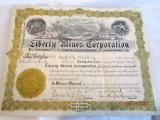 1923 Liberty Mines Corporation Stock Certificate - Nevada