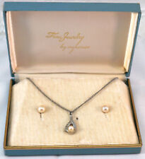 Vintage Sterling Silver & Pearl Necklace & Earrings in Original Box Marathon