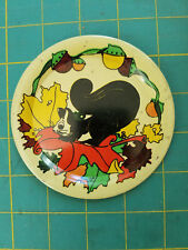 Vintage tin metal toy tea set children's plate with squirrel Ohio Art