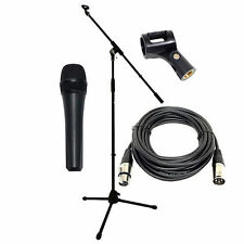 Vocal Microphone + Professional Mic Boom Stand + XLR Mic Cable + Clip DP Stage