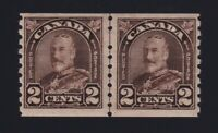 Canada Sc #182i (1930) 2c King George V Arch Coil Line Pair Mint VF NH MNH
