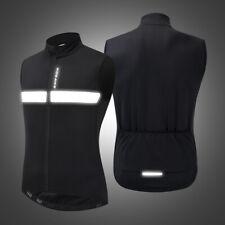 Men Windproof Cycling Vest Winter Fleece Warm Bike Jersey Anti-slip Jacket Black