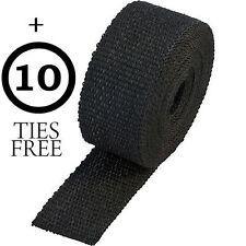 "2"" Exhaust Manifold Downpipe Black Heat Wrap DE CAT PIPE TAPE 10M +10 Ties Wrap"