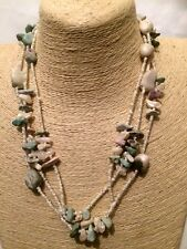 Womens Statement Long Beaded STONE Multi Coloured Multi Layer Chain Necklace