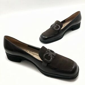 ✅💟✅ Worn Once SALVATORE FERRAGAMO Boutique Italy Brown Leather Heel Pump 9 B