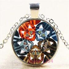 Cute Cat Cabochon Silver/Bronze/Black/Gold Glass Chain Pendant Necklace #6982