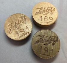 3 SCHLITZ BEER Brewery Wood KEG BUNGs Vintage