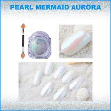 Nail Chrome Powder 💎 Diamond Pearl Mermaid White Art Glitter Dust Brush DIY UK