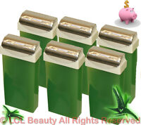Six Large Roll On Aloe Scented Hair Removal Wax Cartridges Spa Salon Equipment