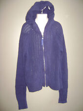 JUSTICE GIRLS SWEATER HOODED CARDIGAN size 16 BLUE ZIPPER 100% COTTON